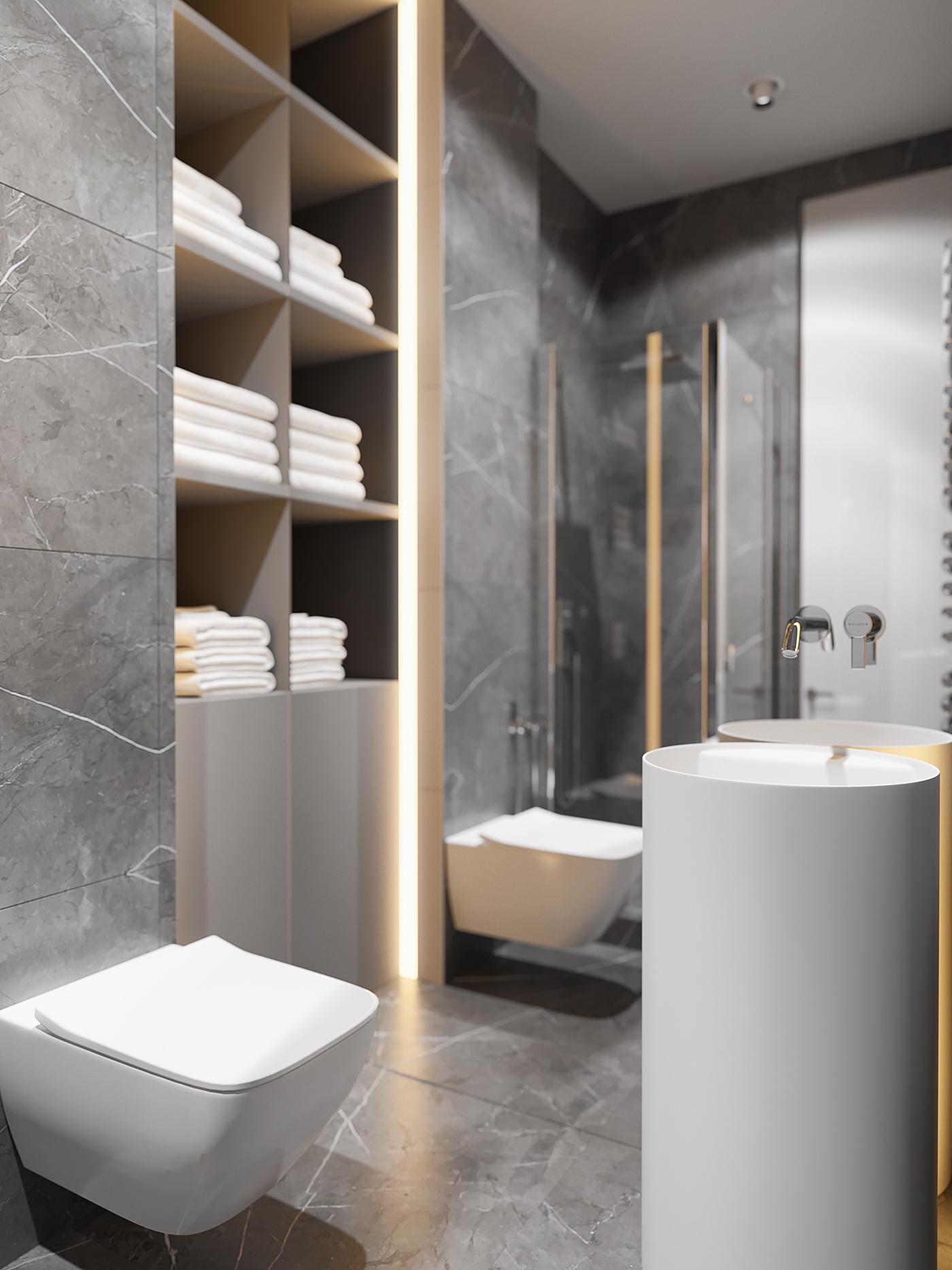Moderne luxe badkamer met marmeren tegels badkamers voorbeelden - Marmeren douche ...