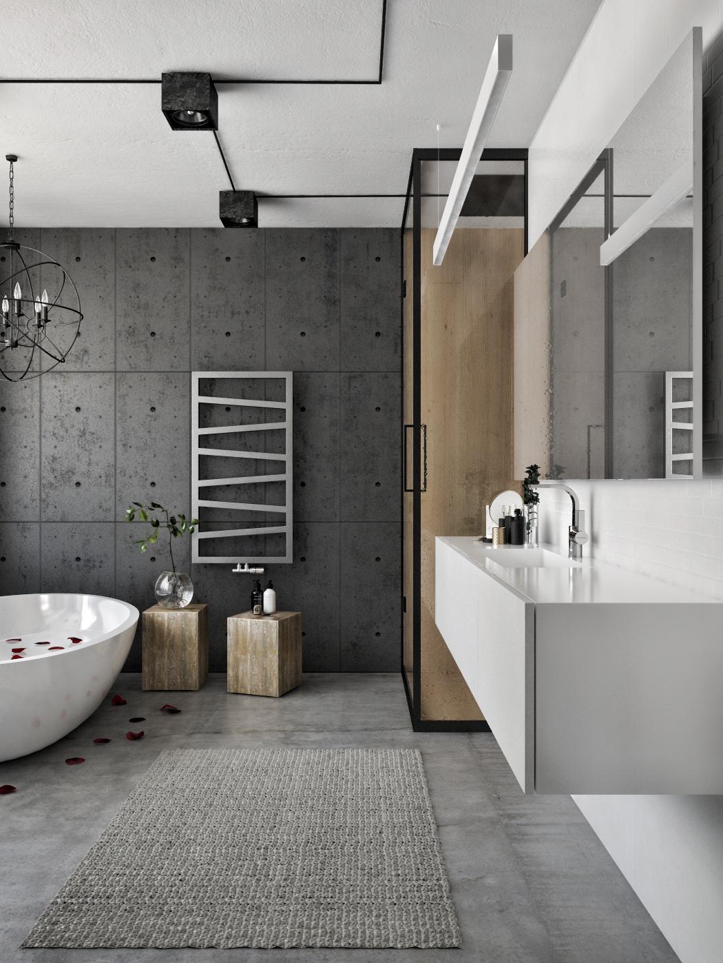 Modern stoere loft badkamer - Badkamers voorbeelden