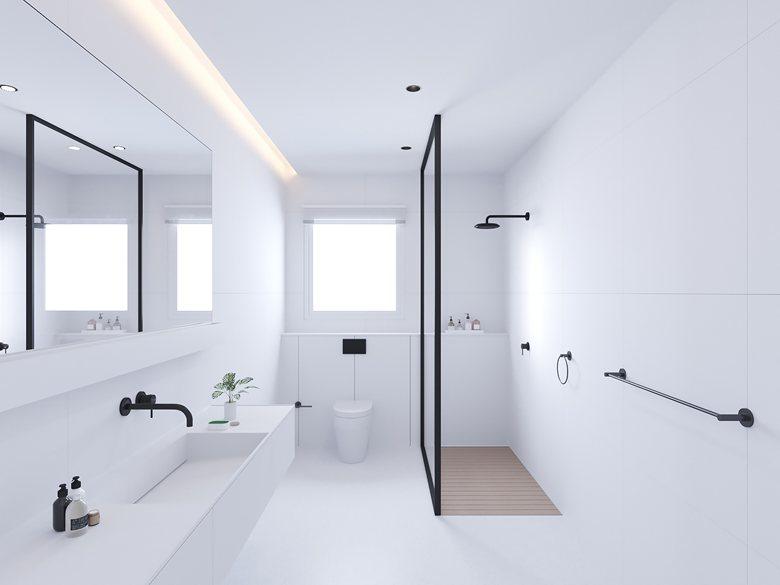 Moderne strakke minimalistische witte badkamer