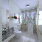 Moderne witte badkamer met regendouche