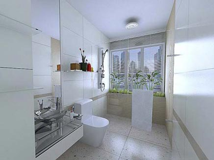 Moderne witte badkamer met regendouche badkamers voorbeelden - Moderne douche fotos ...