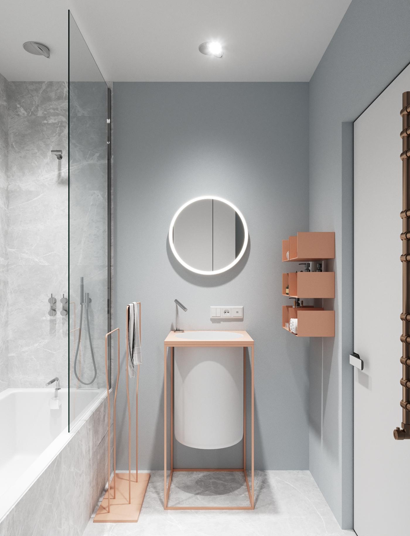 Moderne zachte badkamer met grijs en roze
