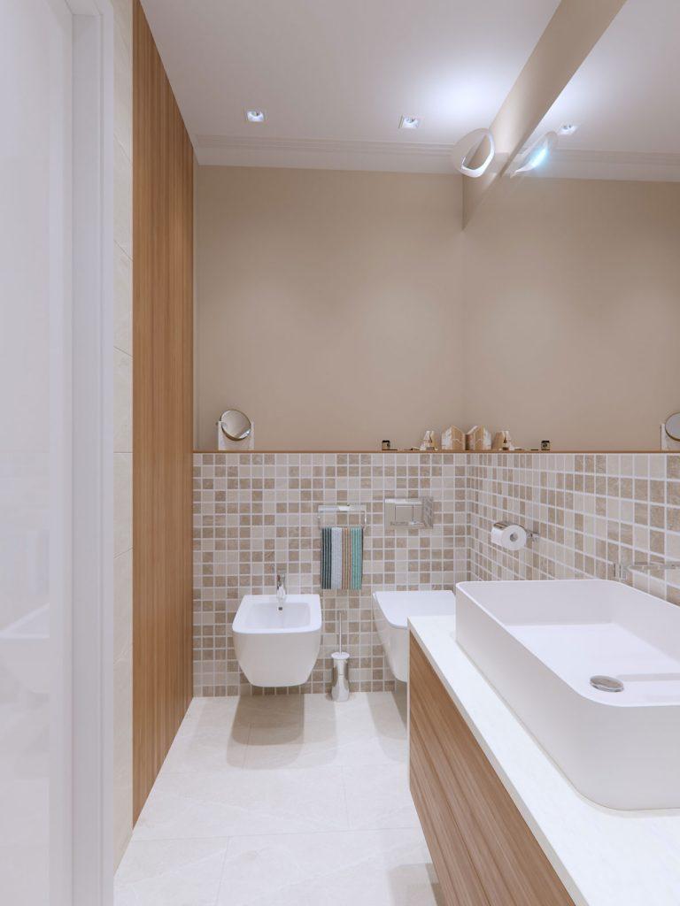 Mooseberry Design ontwerpt de droombadkamer in een klein studio appartement