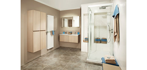 Neutrale Brugman badkamer met douchecabine - Badkamers voorbeelden