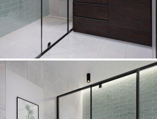 Moderne badkamer met houten schuifdeur badkamers voorbeelden - Badkamer klein gebied m ...