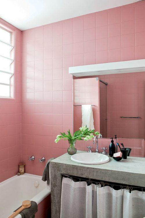 Oud roze tegels