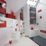 Rood witte badkamer
