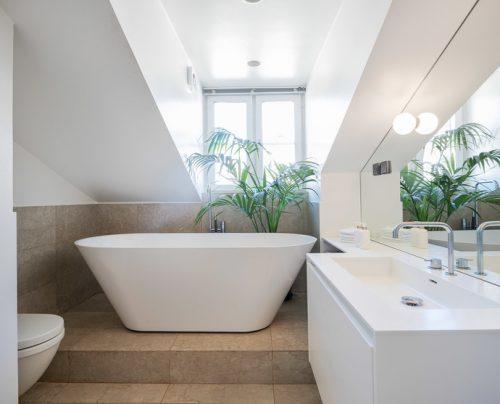 Ruime badkamer van luxe scandinavisch penthouse badkamers voorbeelden - Glazen ingang ...