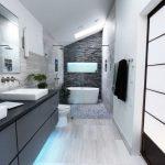 Ruime badkamer met mooie materialen en luxe voorzieningen
