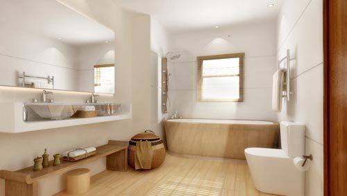 Rustgevende badkamer met wit en hout