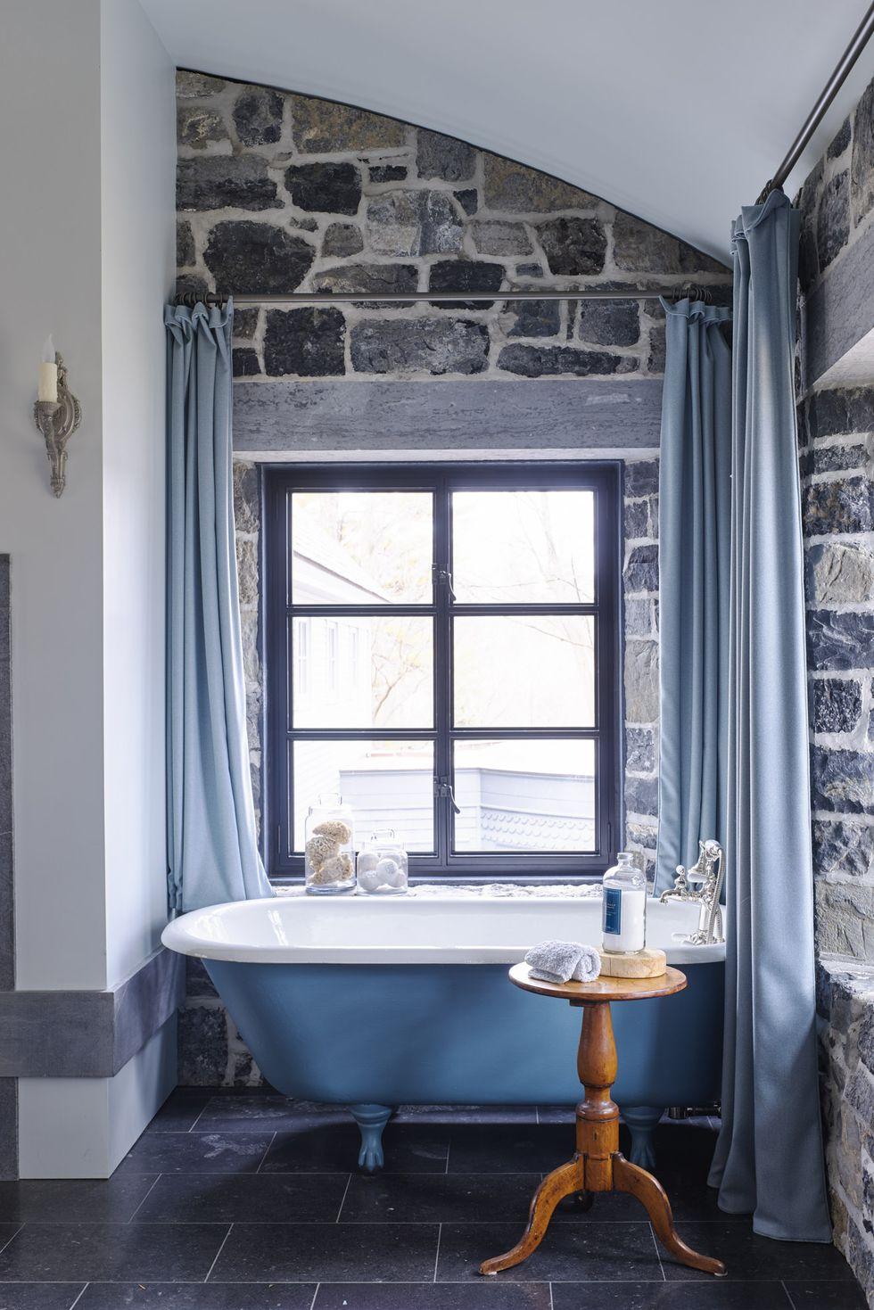rustieke badkamer modern blauw
