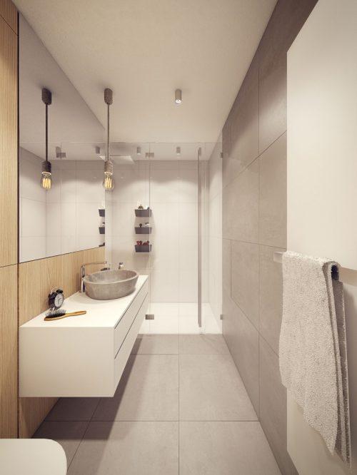 Badkamers voorbeelden » Ontwerp van een smalle lange badkamer