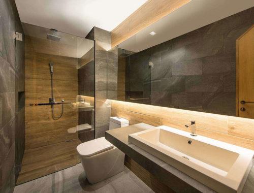Badkamer plank eigentijdse badkamer met badmeubel gemaakt