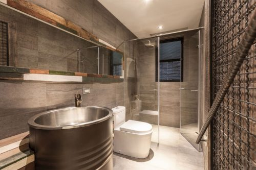 Stoere badkamer van vintage appartement - Badkamers voorbeelden