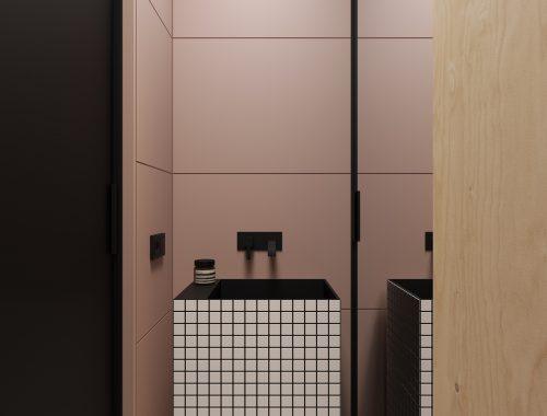 Stoere oud roze kleine badkamer