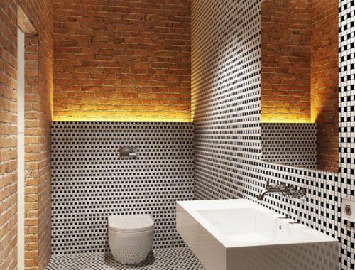 Stoere ruim opgezette loft badkamer