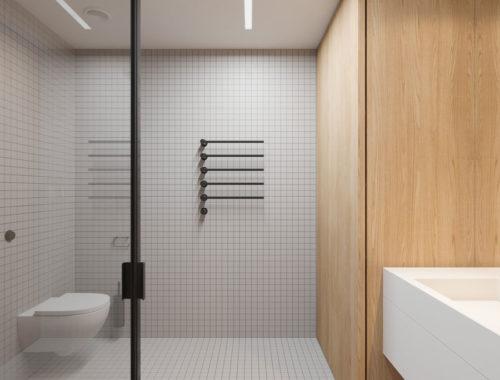 Strak en modern badkamerontwerp met hout en staal