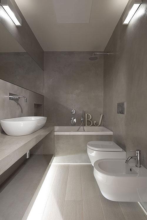Strakke badkamer met beton cire - Badkamers voorbeelden