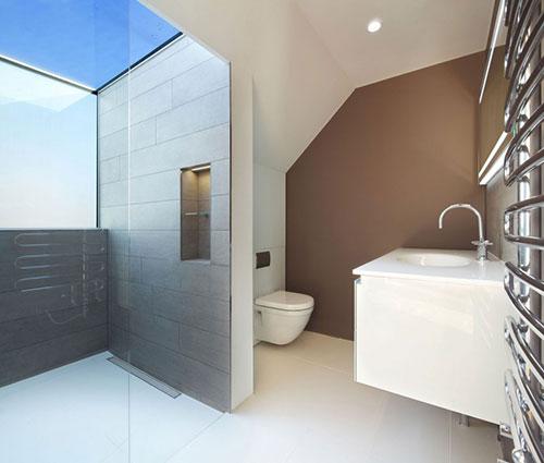 Strakke badkamer met dakraam boven inloopdouche
