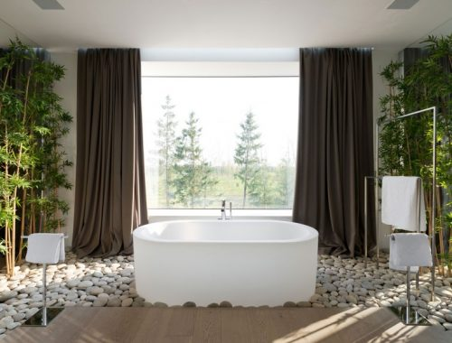 T-vormige badkamer met bamboetakken