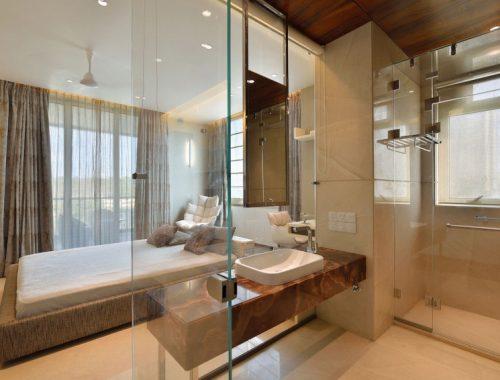 Transparante badkamers van villa in India