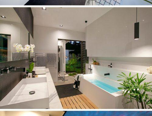 Ultra luxe moderne badkamer van een golfresort