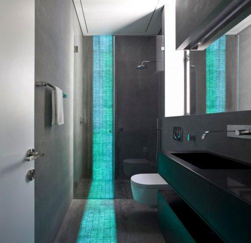 Badkamers voorbeelden » Verlichting in vloer en muur