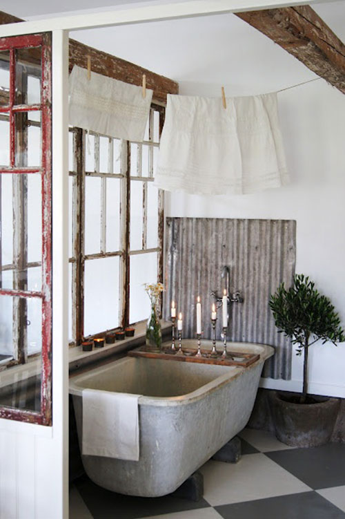 Badkamers voorbeelden vintage badkamer for Corrugated iron bathroom ideas