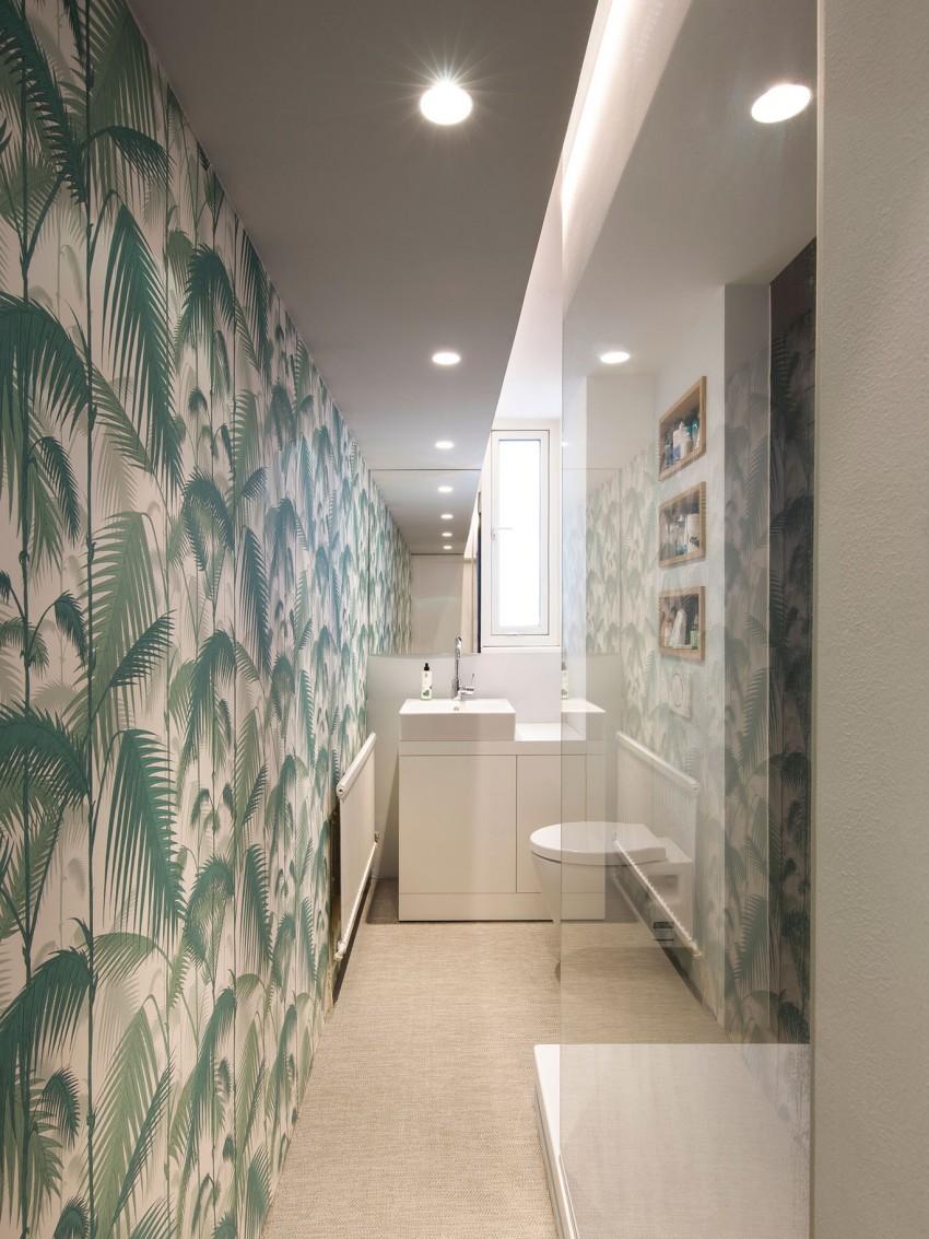 Vinyl en behang in de badkamer - Badkamers voorbeelden