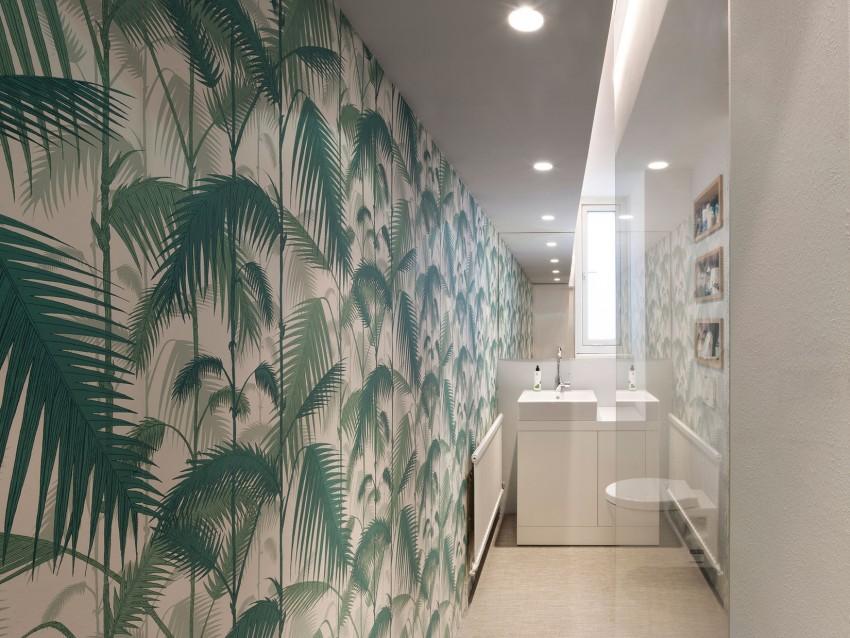 Behang Voor Badkamer : Smalle badkamer met jungle behang badkamers voorbeelden