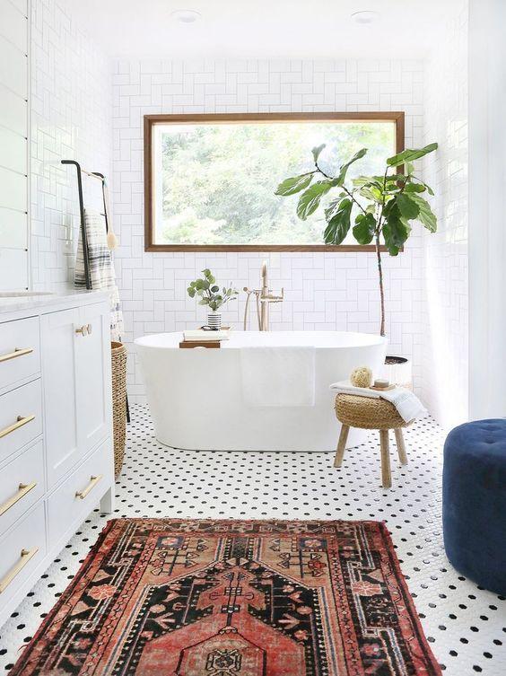 Vloerkleed in badkamer