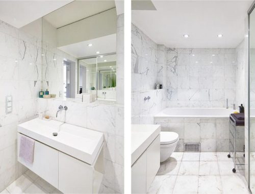 Wit marmer in badkamer
