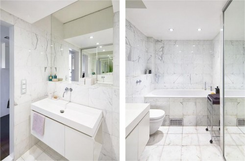 Wit marmer in badkamer - Badkamers voorbeelden