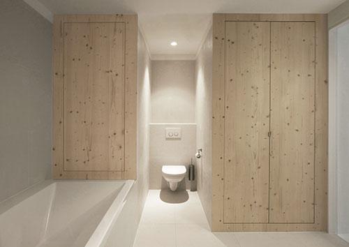 Witte badkamer met houten planken - Badkamers voorbeelden