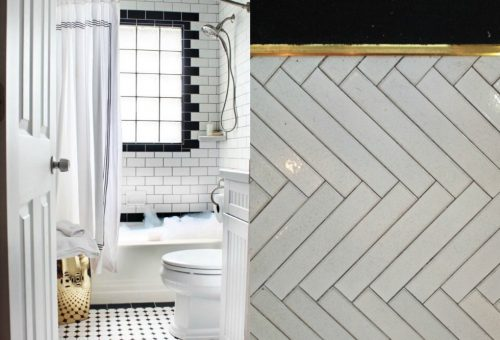 Witte visgraat tegels badkamer