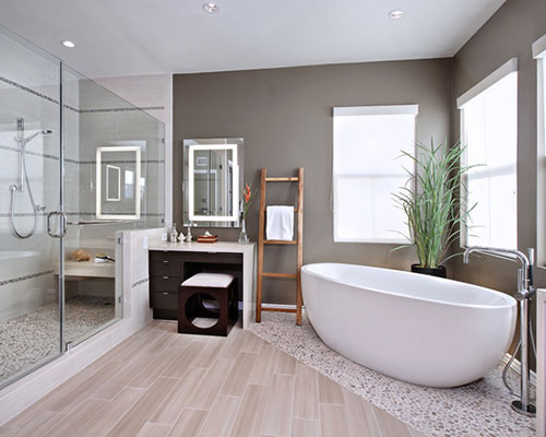 Zen badkamer met bruine tinten badkamers voorbeelden - Kleur idee ruimte zen bad ...