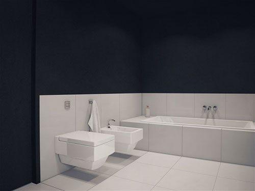 Moderne zwart witte badkamer