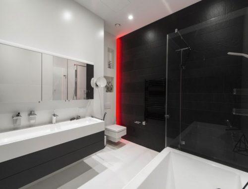 Zwart witte badkamer door Geometrix Design