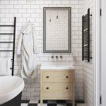 Zwart witte badkamer van mini loft uit Praag