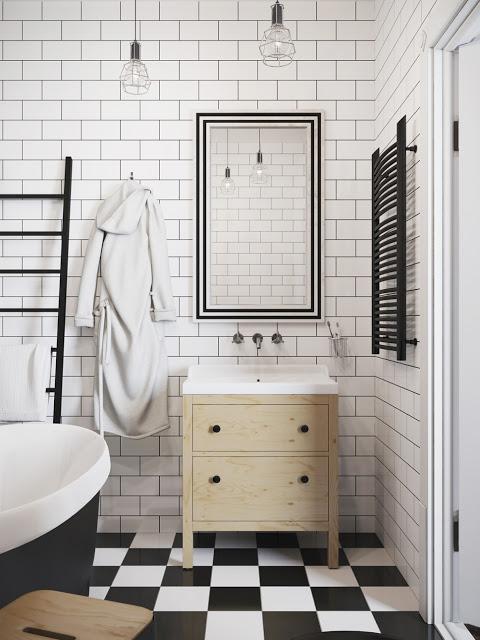 Badkamer Met Pebbles ~ Badkamers voorbeelden ? Zwart witte badkamer van mini loft uit Praag