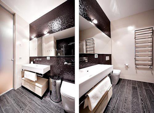 Zwarte laminaat in badkamer