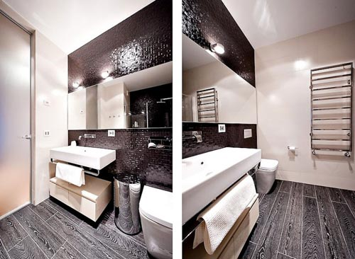 Zwarte laminaat in badkamer - Badkamers voorbeelden
